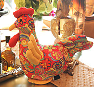 Chinese Style Polychrome Plush Cock Doll Toy Gift
