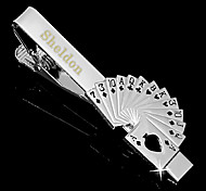 Personalized Gift Men's Poker Style Silver Metal Engraved Tie Clip (within 10 characters)