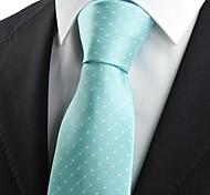 Beso lazo del regalo nuevo juego del punto blanco Mint banquete de boda azul JACQUARD Mens corbata del lazo