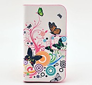 Butterfly Pattern PU Leather Case with Magnetic Snap and Card Slot for Samsung Galaxy S3 mini I8190