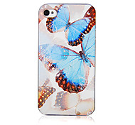 Original Beautiful Blue Butterfly Pattern Transparent Frame Back Case for iPhone 4/4S