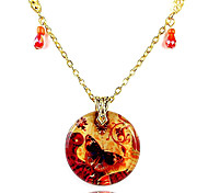 Butterfly Round Pendant Necklace(Random Color)