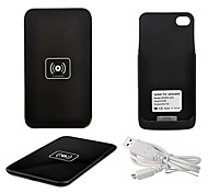 Qi Wireless Charger Black Charging Pad with Black Receiver for iPhone 4S