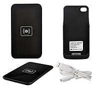 qi caricabatterie wireless pad di ricarica nero con ricevitore nero per il iphone 4s