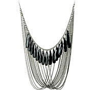 Vintage (Line Pendant) Gray Alloy Statement Necklace(Black) (1 Pc)