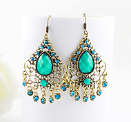 Bohemia Vintage Style Green Drop Earrings