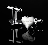 Personalized Gift Heart Shaped Silver Engraved Cufflinks