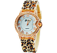 Women's Diamond Gold Case Leopard Print Silicone Band Quartz Wrist Watch (Assorted Colors)