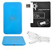 Azul Wireless Power Charger Pad + Cabo USB + Receptor Paster (Black) para Samsung Galaxy Nota 2 N7100