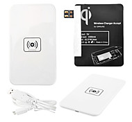 White Wireless Power Charger Pad + USB Cable + Receiver Paster(Black) for Samsung Galaxy Note2 N7100
