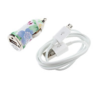 Light Green&Blue Stripe Pattern Bullet Shape Car Charger for Samsung Cell Phones and Other Brands