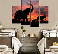 Modern Style Elephant Pattern Wall Clock in Canvas 4pcs