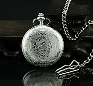 Unisex Vintage Pattern Silver Alloy Quartz Pocket Watch