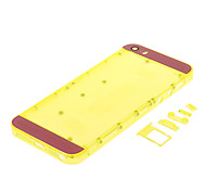 Yellow Hard Plastic Back Battery Housing with Buttons and Pink Glass For iPhone 5s