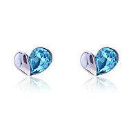 Stud Earrings Crystal Simulated Diamond Alloy Heart Fashion Heart Blue Jewelry Party Daily Casual 2pcs