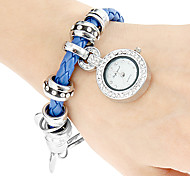 Women's Diamante Round Dial Pu Band Quartz Analog Bracelet Watch (Assorted Colors)