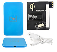 Azul Wireless Power Charger Pad + Cabo USB + Receptor Paster (Black) para Samsung Galaxy Note3 N9000