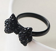 Fashion Women's Black Alloy With Acrylic Bowknot Statement Rings(1 Pc)