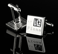 Personalized Gift Squared Silver Engraved Cufflinks with Rhinestone