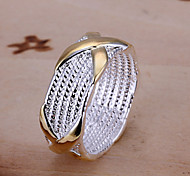 European Women's Gold-Silver X Alloy Band Rings(1 Pc)