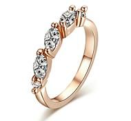 Fashion Clear Simulated Diamond Triple Rhinestone Wedding Ring