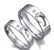 Vintage Lovers Stainless Steel Footprints Character Design Couple Rings (2 Pcs)