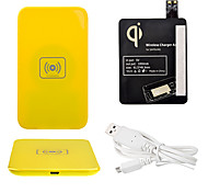 Yellow Wireless Power Charger Pad + USB Cable + Receiver Paster(Black) for Samsung Galaxy S4 I9500