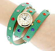 Women's Colorful Crystal PU Band Quartz Analog Bracelet Watch (Assorted Colors)