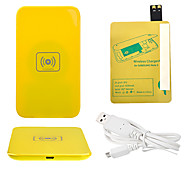 Amarelo Wireless Power Charger Pad + Cabo USB + Receptor Paster (Gold) para Samsung Galaxy i9500 S4