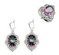 Fashion 925 Silver Plated Copper Rainbow Zircon Earring And Ring Set