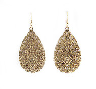 Hollow Golden Drop Earrings