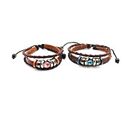 Fashion Unisex Brown Rhinestone Couples Leather Bracelet(Pink,Blue)(1 Pc)