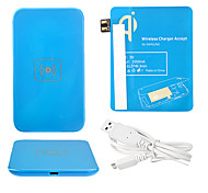 Blue Wireless Power Charger Pad + USB Cable + Receiver Paster(Blue) for Samsung Galaxy Note2 N7100