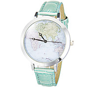 Women's Fashion Watch Japanese Quartz PU Band Vintage World Map Black White Blue Pink Strap Watch