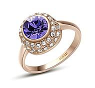 Shining Austria Crystal Purple Zircon Diamond Ring