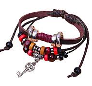 Vintage Beads And Key 21cm Unisex Brown Alloy Couple Leather Bracelet(1 Pc)