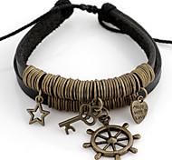 Vintage Star Key Heart 16cm Women's Black Leather With Bronze Alloy Vintage Bracelet(1 Pc)