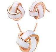 Knot White Silver Plated (Necklaces&Earrings) Wedding Jewelry Sets