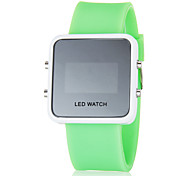 Unisex Blue LED Digital White Square Case Silicone Band Faceless Watch (Assorted Colors)