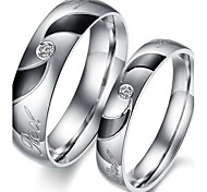 Fashion Lovers Stainless Steel Whirlwind Inlaid Zircon Couple Rings (2 Pcs)