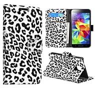 Caja del cuero del patrón del leopardo para Samsung Galaxy i9600 S5