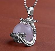 Collier de perles de dragon Pendentif Quartz Rose rose Gem