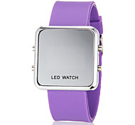 Women's Blue LED Digital Silver Square Case Silicone Band Faceless Watch (Assorted Colors)