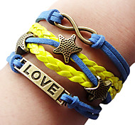 European Love Stars 20cm Women's Royal Blue Leather Wrap Bracelet(Yellow)(1 Pc)