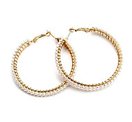 Fashion Full Pearl Hoop Earrings