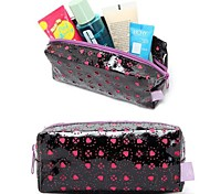 Quadrate Black Patent Leather Rose Hollow Loving Heart Make up/Cosmetics Bag Cosmetics Storage