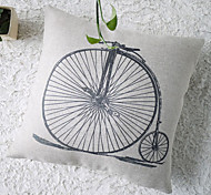 Modern Black and White Hand-painted Style Bicycle Decorative Pillow Cover