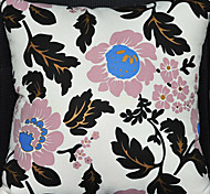 Black Flowers Pattern Decorative Pillow With Insert