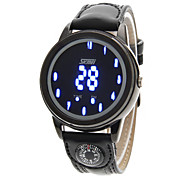 Men's Blue LED Digital Compass Function Leather Band Sports Wrist Watch Cool Watch Unique Watch