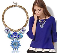 (1 PC) Vintage (collier de fleur de cristal de saphir Big Diamond) or collier pendentif en alliage (Bleu)